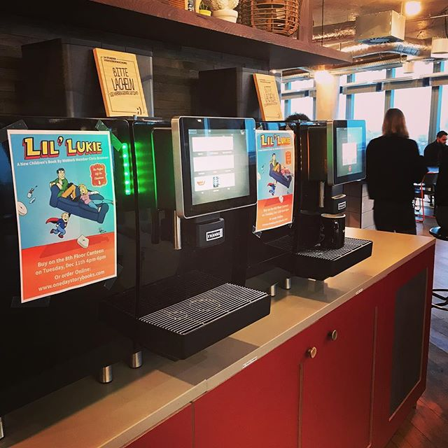 This is so cool! We'll be selling the #LilLukie storybook in @wework #SonyCenter on Tuesday. Made a little poster which is now currently living on the coffee machines! 😁 Should be a fun time. It's a family event from 4pm-6pm 🎅 🎅 🎅 #childrensbooks #kidslit #childrensbook #comicbook #storytime #tinytotofjustice #comics #wework #savestorytime #xmas #xmasgiftidea #christmasgiftidea #christmastime #berlinevents #family #familyevent