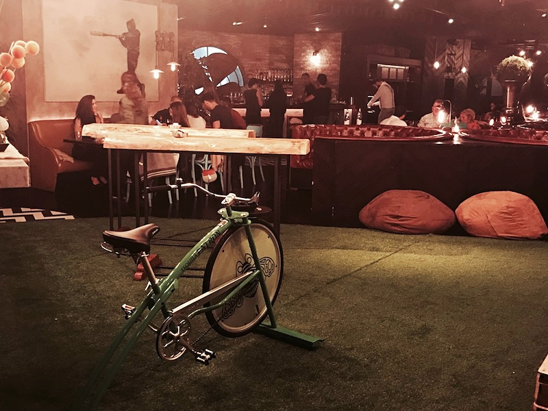 The tequila bike on some astroturf