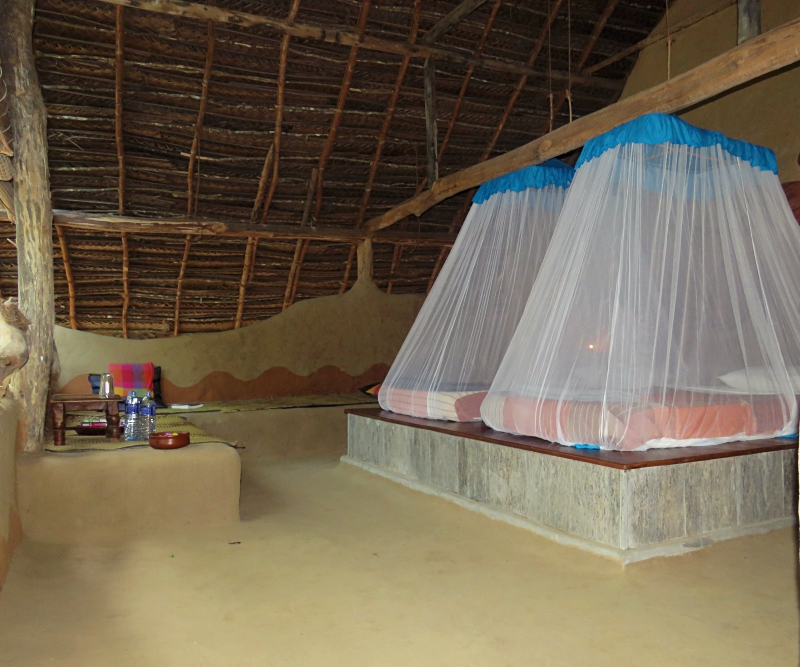 And here's a peek inside another hut, this one a double