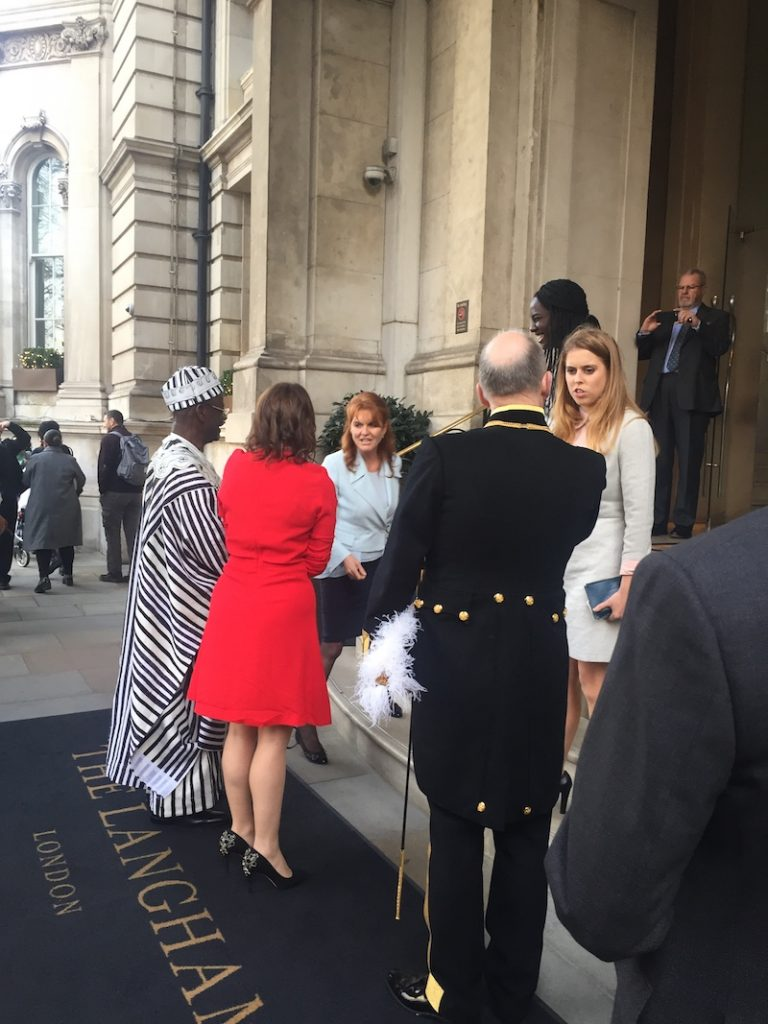 Sarah, Duchess of York, and Princess Beatrice on the steps of The Langham London