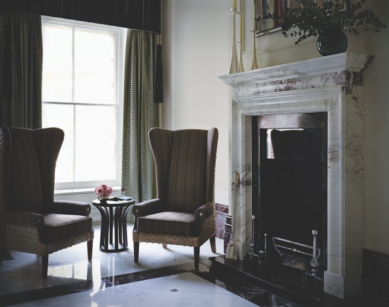 Tucked away in the lobby is this fireplace (photo: The Langham London)