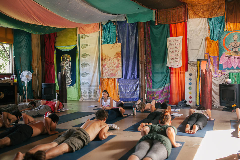 A yoga class (photo credit: Krishna Village)