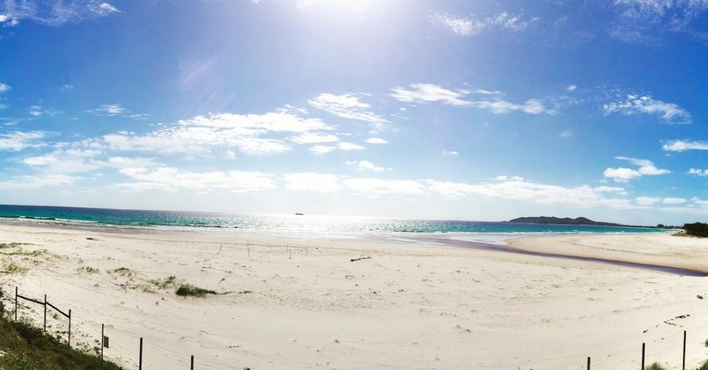 The gorgeously pristine Belongil Beach