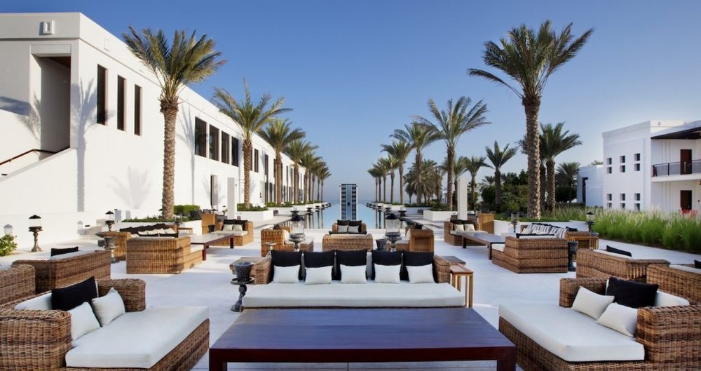 The cabanas at The Long Pool (photo credit: The Chedi Muscat)