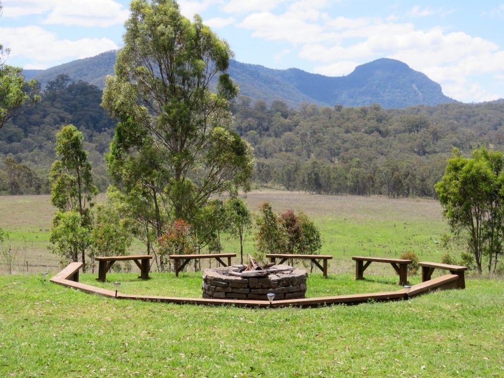 The outdoor fire pit at Spicers Canopy