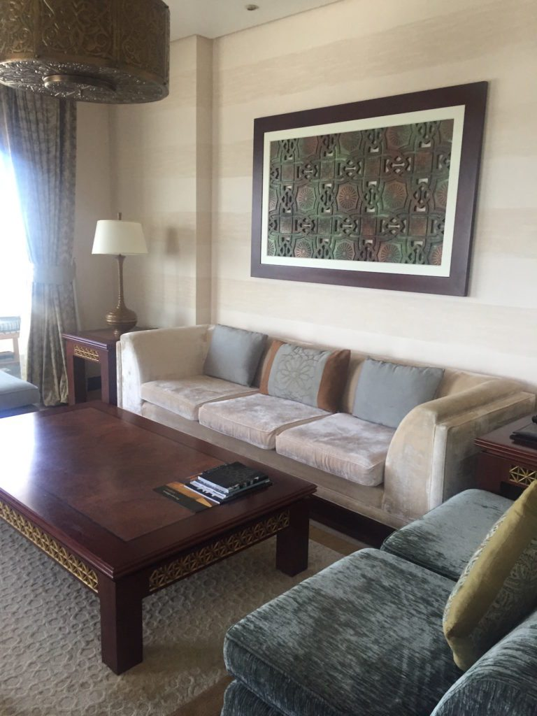 The sitting area of my spacious suite