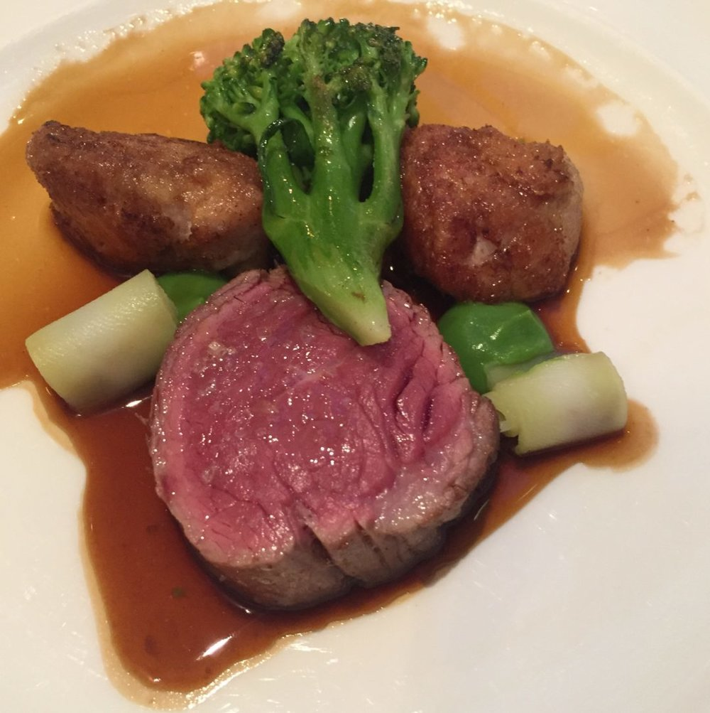 Fillet of Shropshire Rose Veal With Sweetbread, Broccoli, Jersey Royal Potatoes