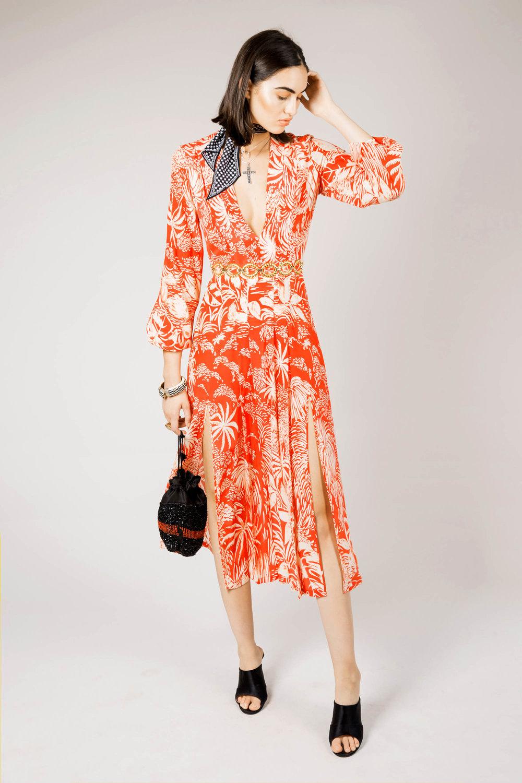 RIXO - Red Oriental Jungle Camellia Dress