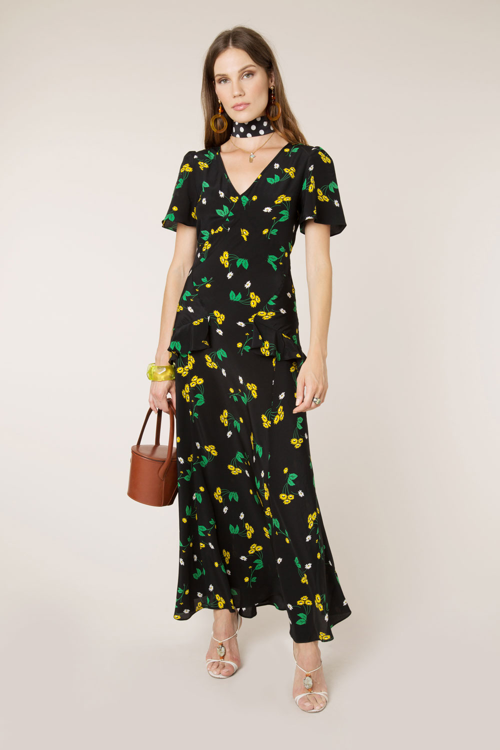 RIXO - Bunched Daisy Evie Dress