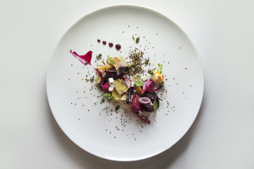 An example of what you might eat at the Ormer Mayfair:  heritage beets, goat's cheese, kalamata sorbet, truffle honey  (photo supplied)