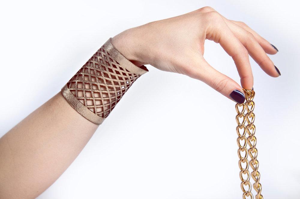 Genoveva Christoff - Leather Laser Cut Alene Bracelet