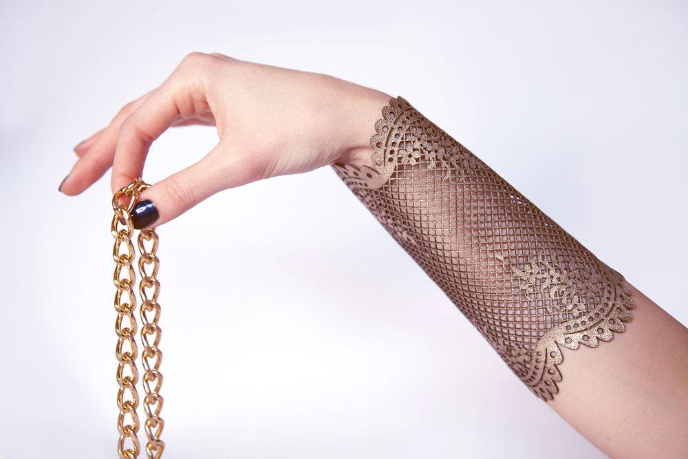 Genoveva Christoff - Leather Laser Cut Chloe Bracelet