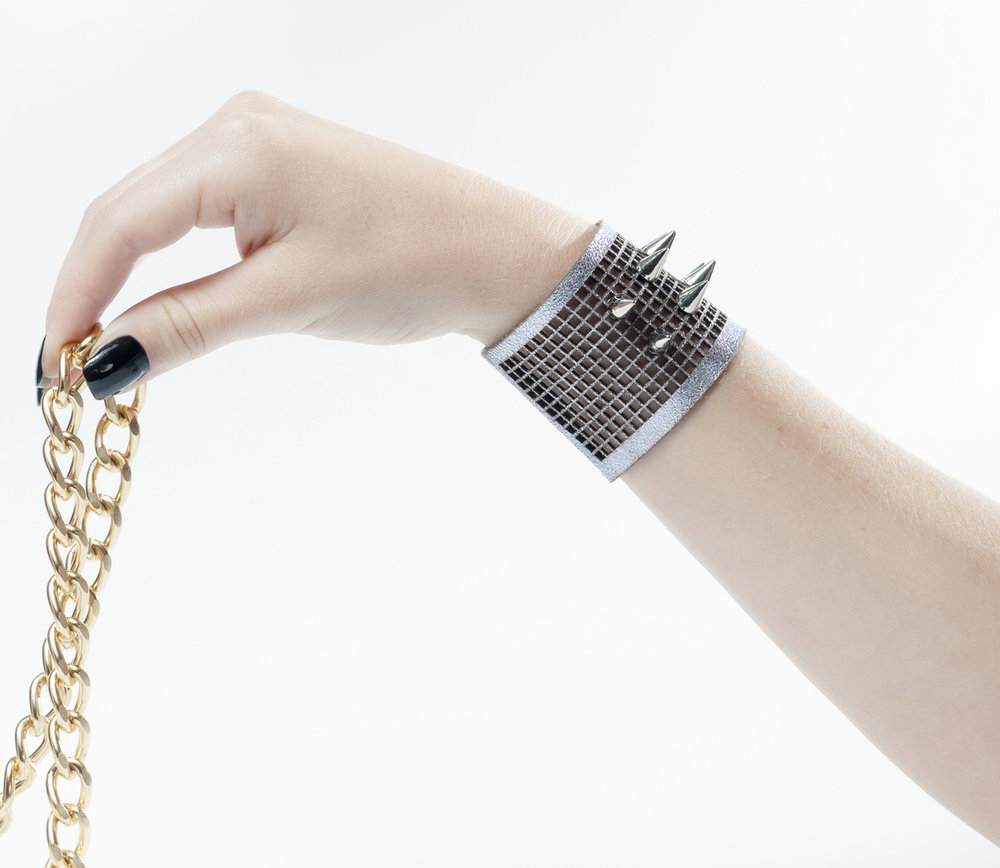 Genoveva Christoff - Leather Laser Cut Dominik Bracelet