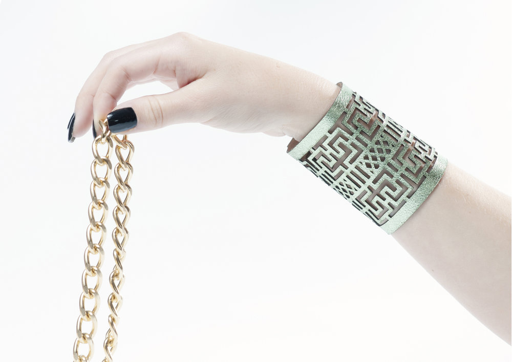 Genoveva Christoff - Laser Cut Leather Nora Bracelent
