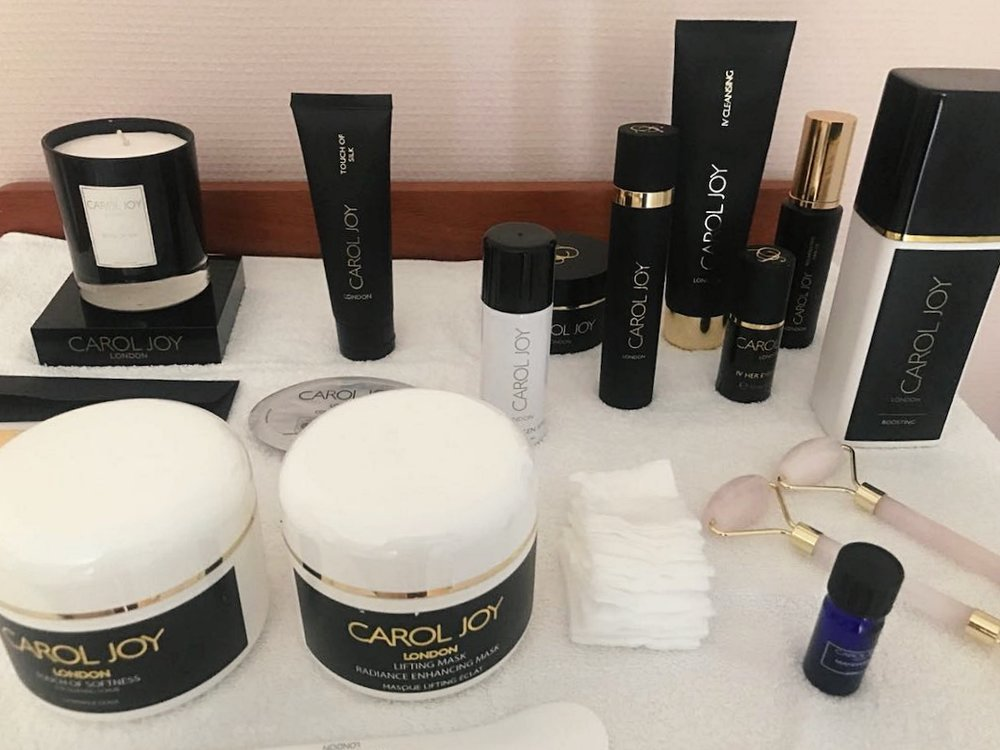 A little peek at the spread of Carol Joy London products at the spa