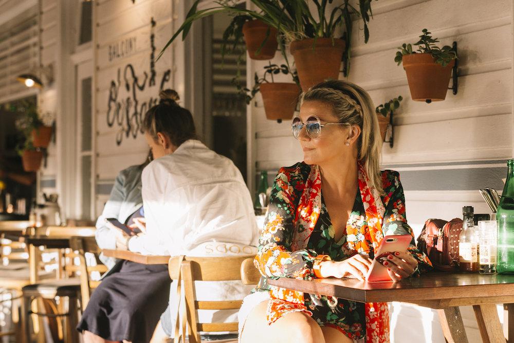 Wearing a RIXO shirt at Balcony Bar  (photo by Kate Holmes)