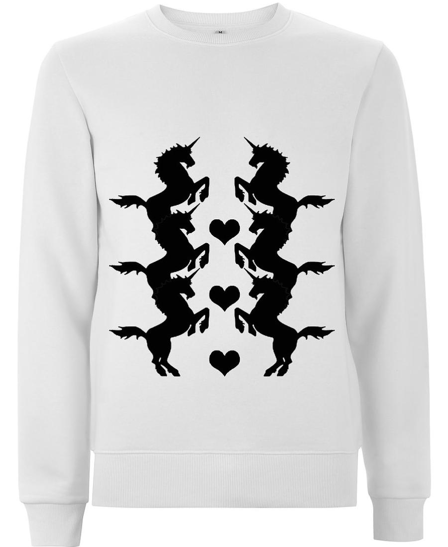 Crown Love - Unicorn Black/White Sweatshirt