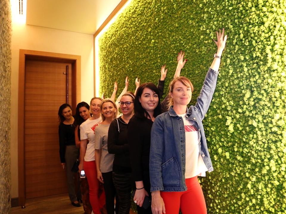 We couldn't resist a group photo by the live moss wall in the Touch Suite