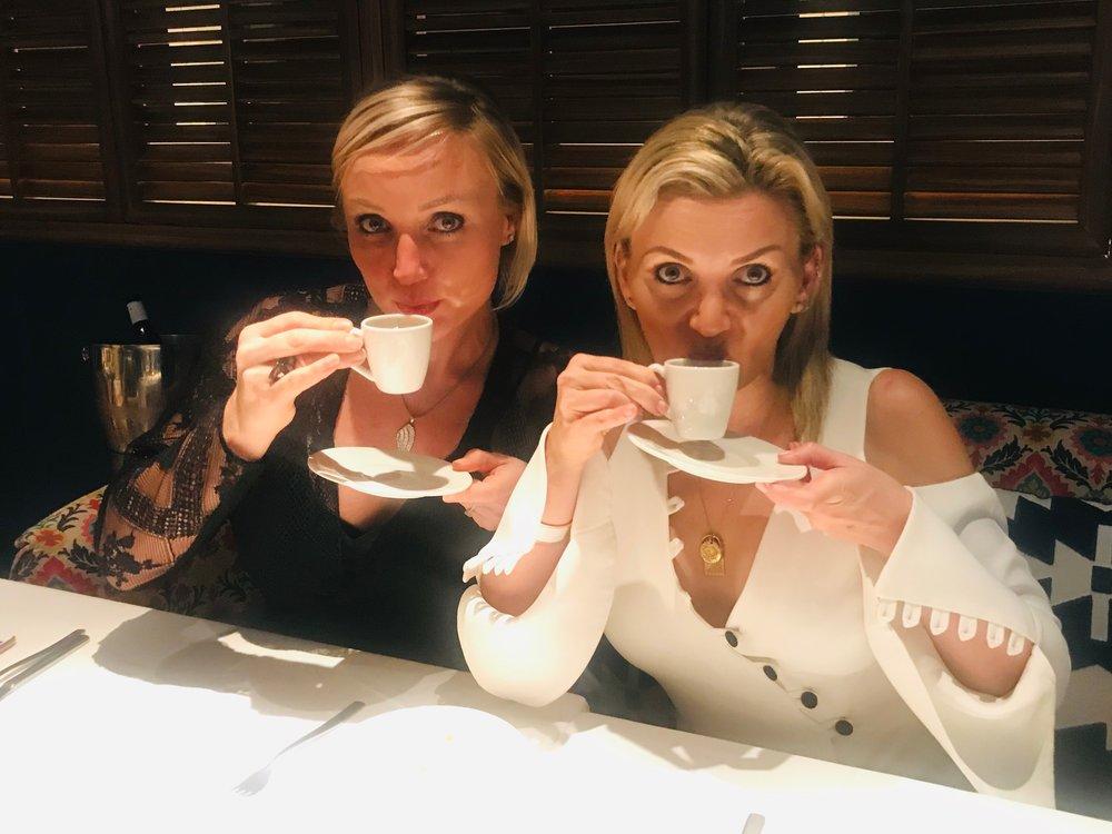 "Anna Royall-Smith and Pra having a ""cuppa"""