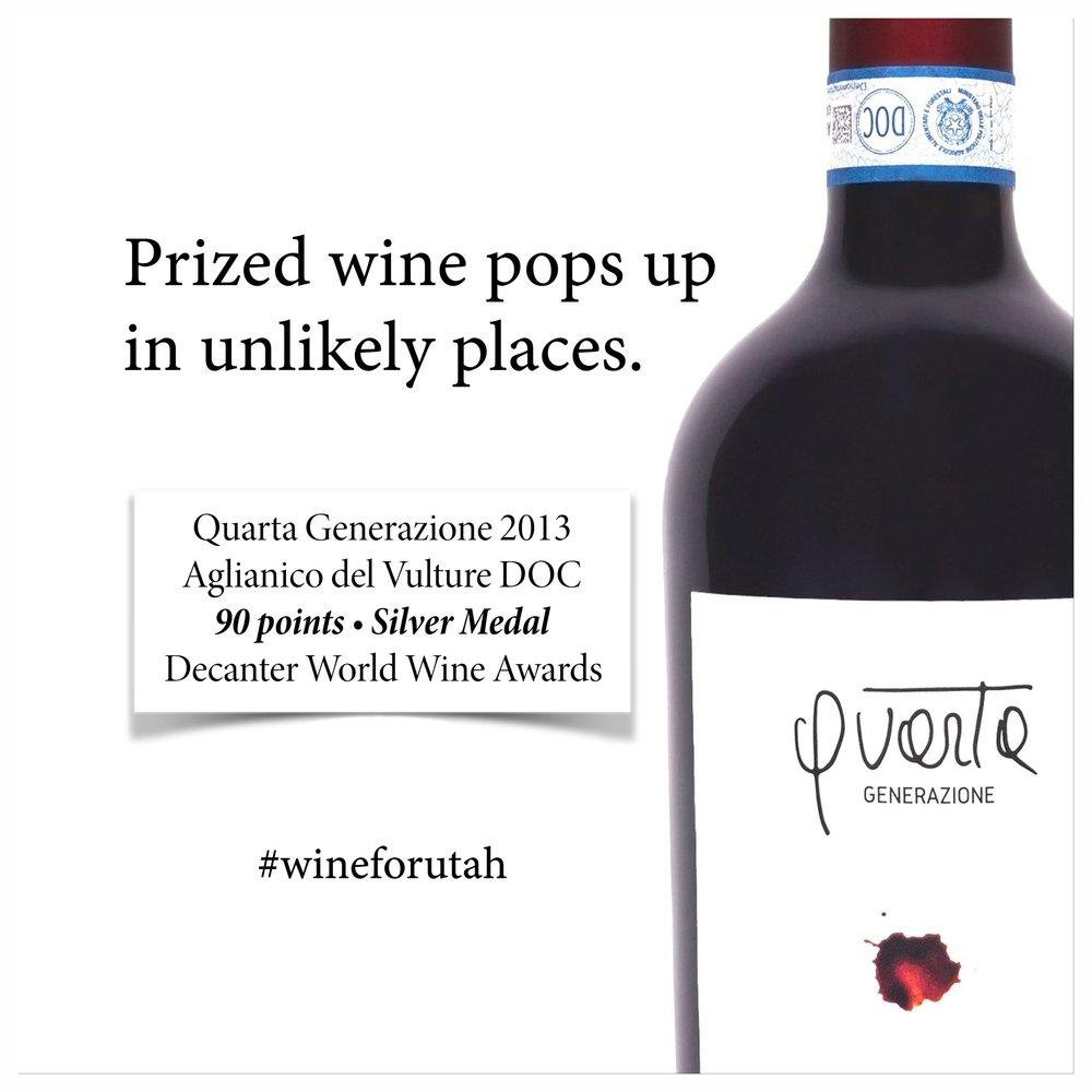 Quarta Generazione 2013 Aglianico del Vulture DOC is available by the six-bottle case through the DABC special order system. List price: $33.99/bottle
