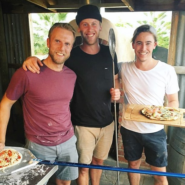 Fun weekend with these two clowns @samgoodwinau @samuelwhiteheadau catching up with old friends in Mildura from our @melbfoodandwine dinner a year ago. Good fun cranking out the pizzas on the deck at @chalmerswine (and a few wines too of course). Thanks everyone for making us feel so welcome!