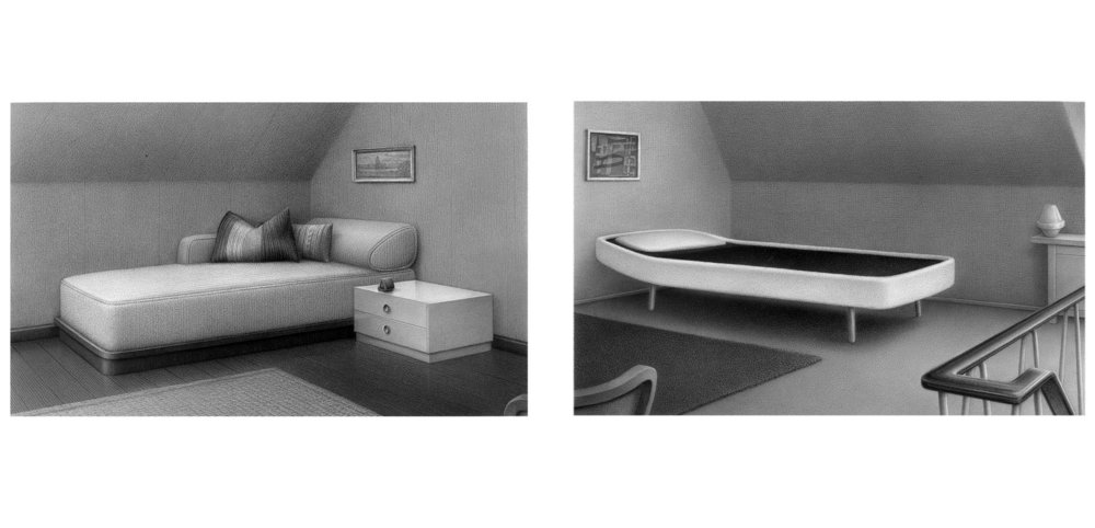 Chaise longue (Diptych), 2006, pencil on paper, each 13,5 x 22 cm