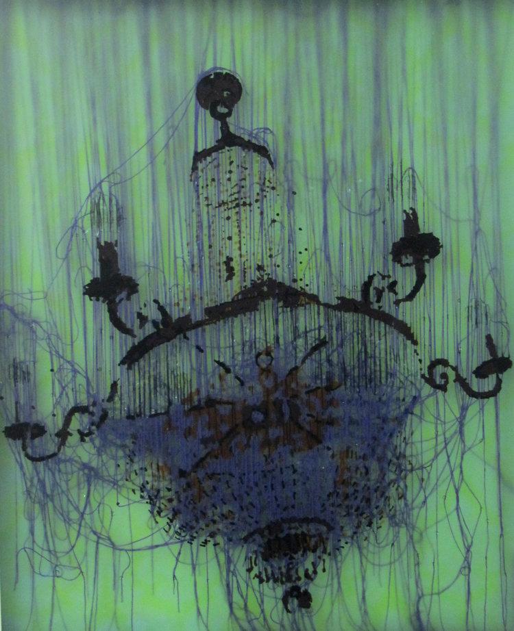 Lüster XII, 2011, acrylic glass, threads, 100 x 60 x 6 cm