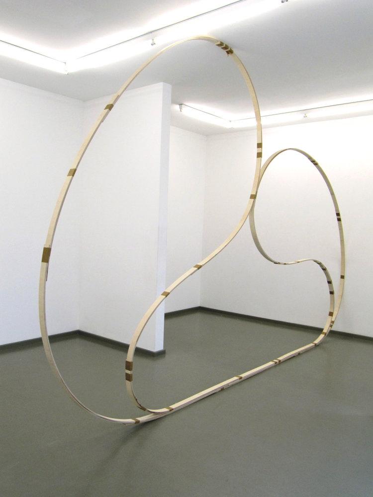 Here, beside you in this room, 2015, wood, tape, 340 x 600 cm, Rasche Ripken, Berlin