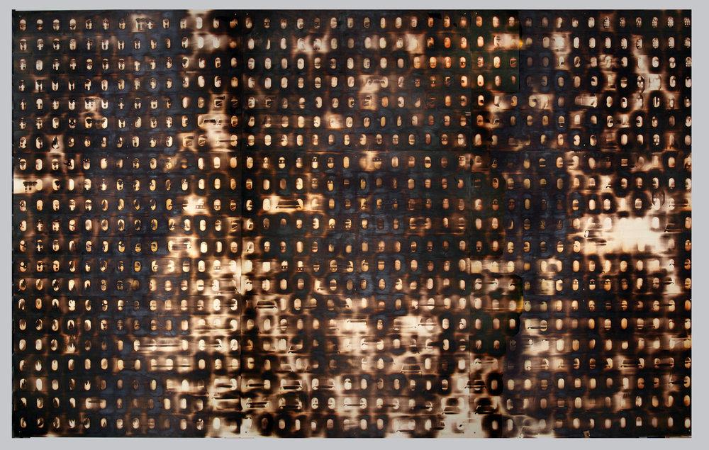 Brandwand, 2016, Brandstempel auf Sperrholz, 300 x 480 cm