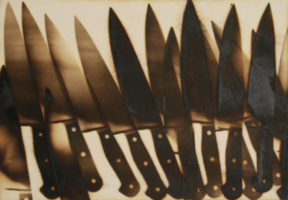 Messer,2015, Brandstempel auf Sperrholz, 30 x 42 cm