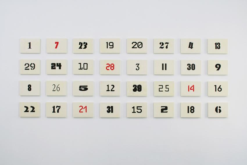 PE (Kalenderblätter), 2009-10, Polyethylen-Intarsien, je 21 x 29 cm