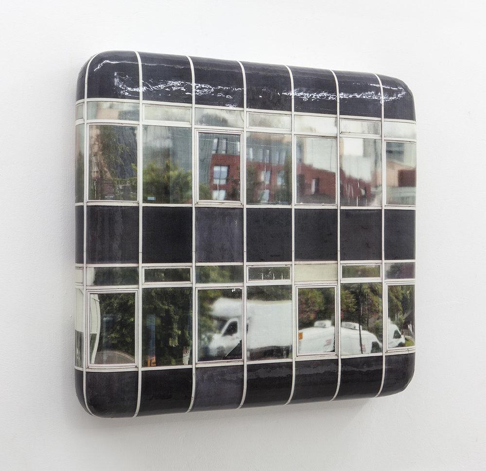 Black building, 2017, wood, foam, CLC-print, silicon, 57 x 61 x 9 cm