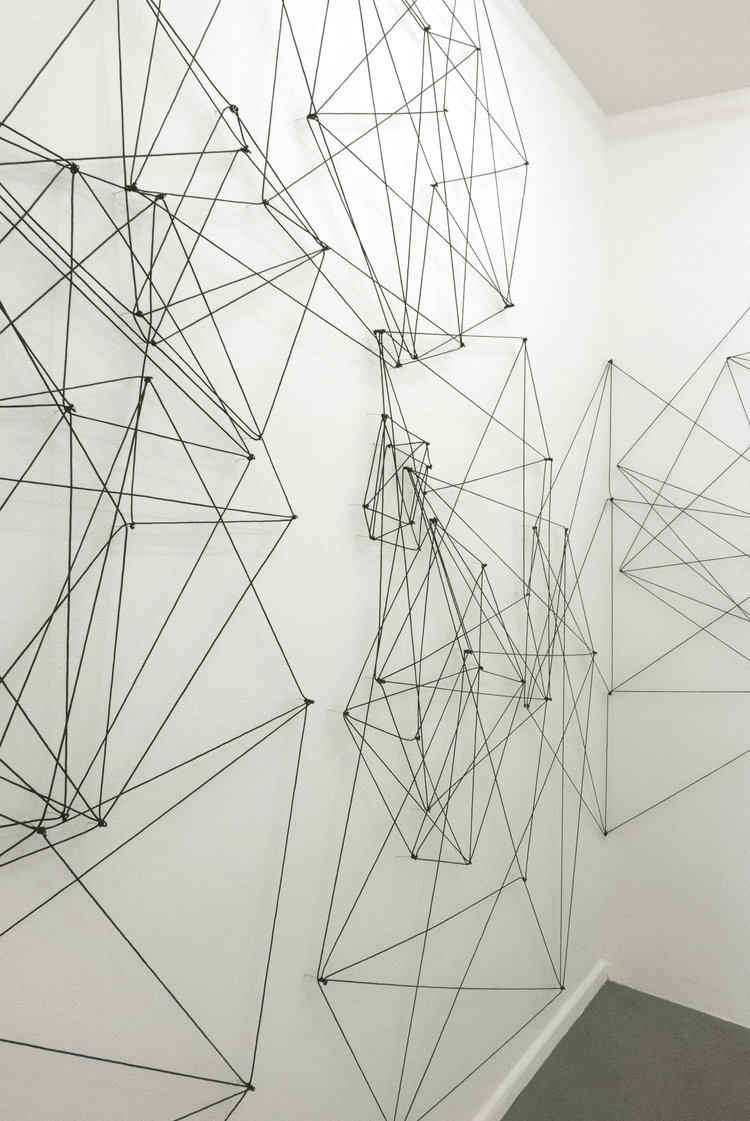 cubes, 2016, black plastic cord on nails, 340 x 9000 cm