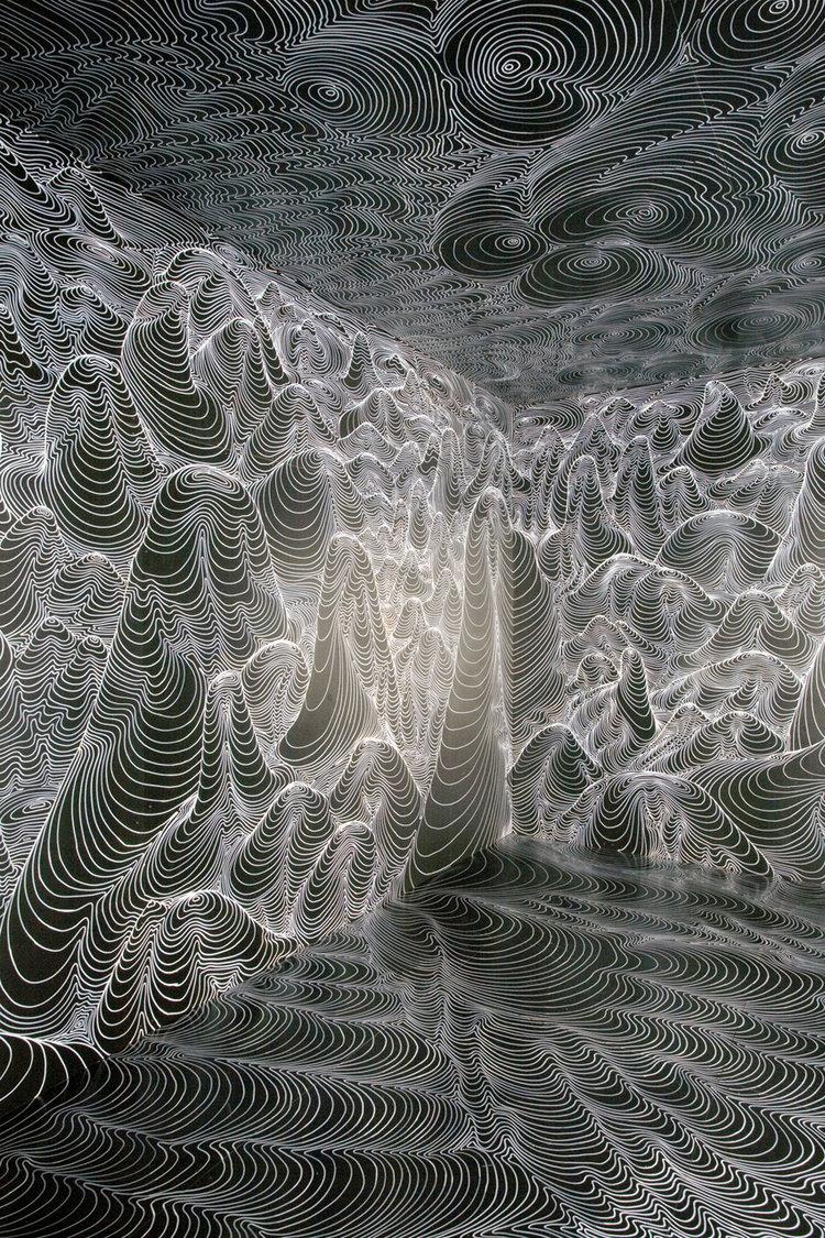 Utopia, 2007, Paintmarker auf Polystyrol, 465 x 465 x 270 cm, Kunstmuseum Bochum