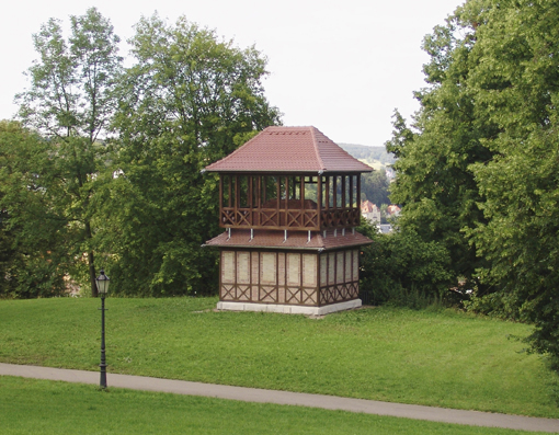 Pagode, 2007, pump house, wood, steal, roof tiles, 820 x 540 x 450 cm, permanent installation, Heidenheim