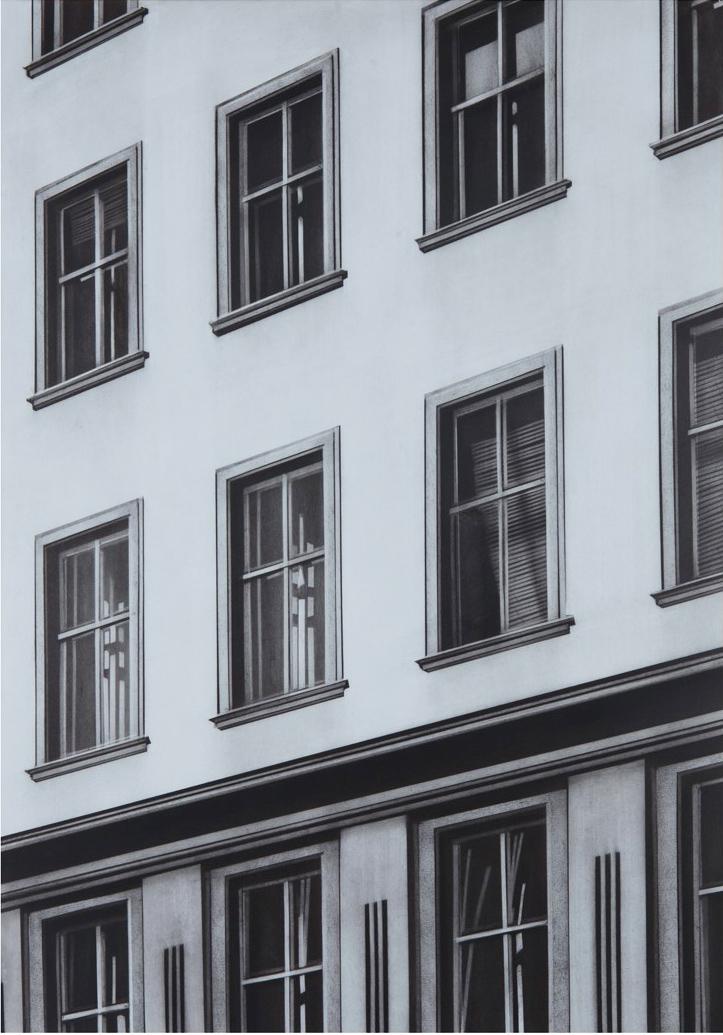 Schuinzicht Apartment, 2017, charcoal on paper, 76,5 x 53,5 cm