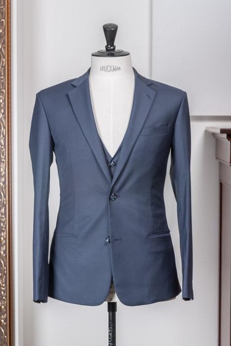 Plain weave 3-delig pak colbert pantalon gilet staal blauw