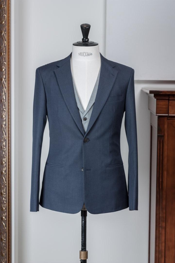 - Napolitaans blauw pak & Birdseye grijs vest 3 delig