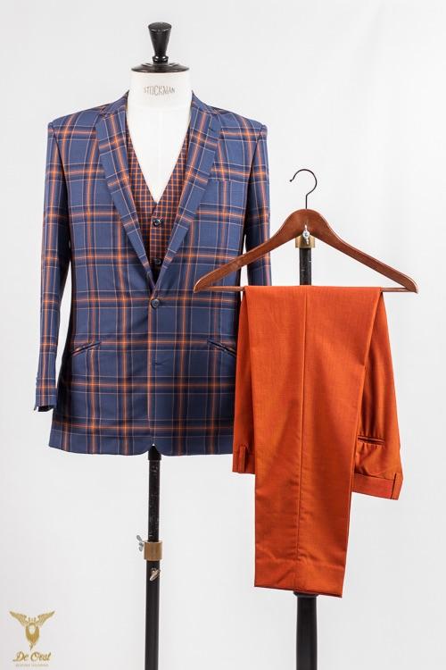 - Trouwpak 3-delig geruit oranje blauw colbert business casual