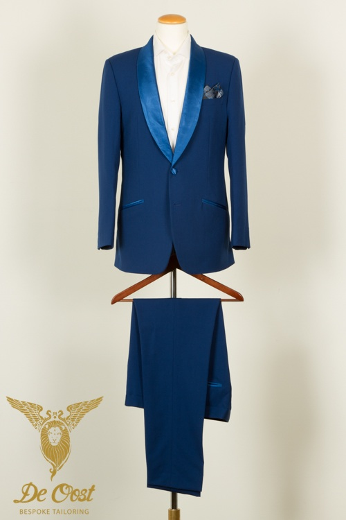- 1 knoops dinner jacket shawl kraag konings blauw tailor made