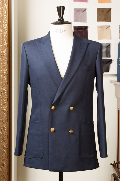 - Blazer Heren Navy Blauw Hopsack Double Breasted 4 buttons patch pockets