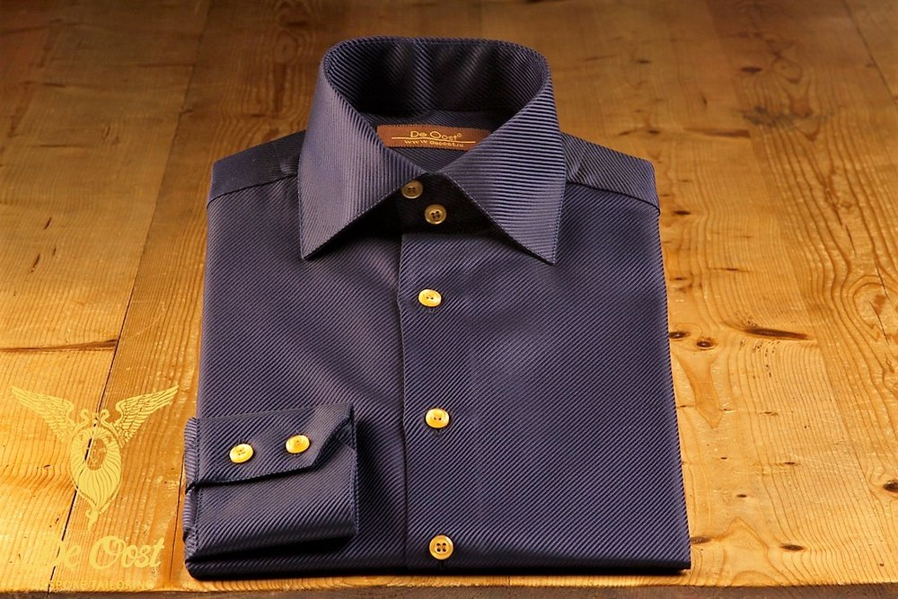 - Shirt heren twill midnight blue semi spread boord