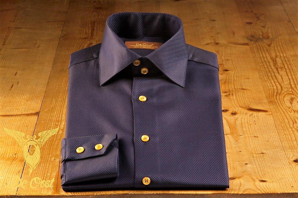 Shirt heren twill midnight blue semi spread boord