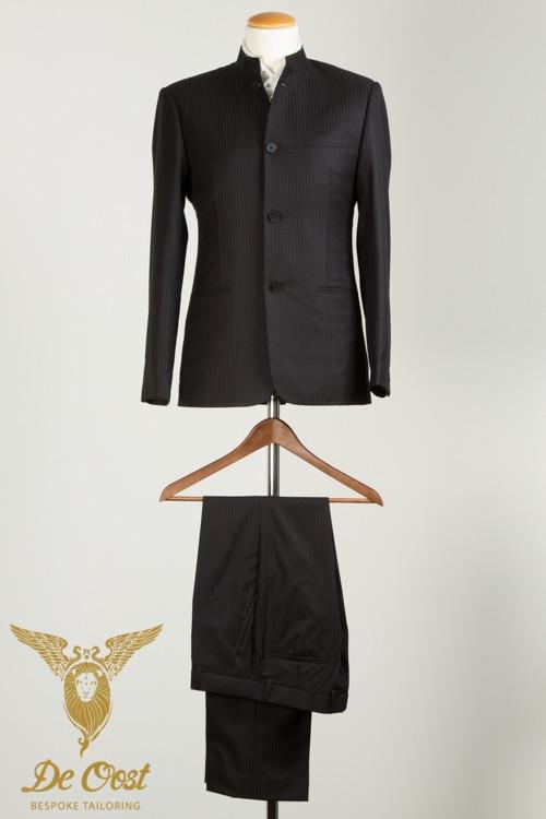 - Nehru Colbert Blazer kostuum Jasje visgraat zwart