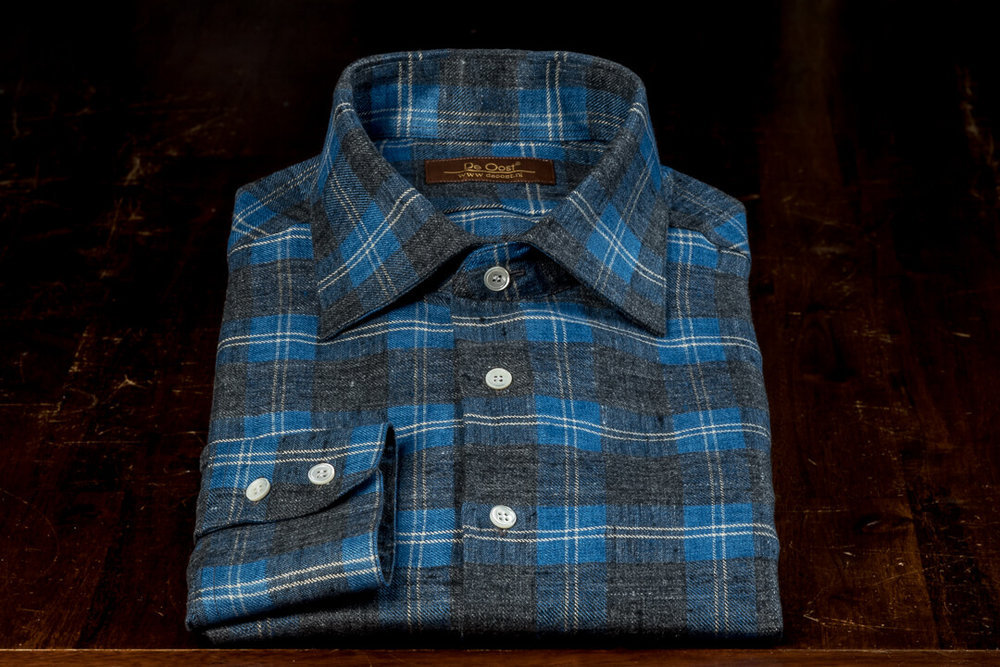 Handgemaakt Overhemd Heren Bespoke Flannel Checks Thomas Mason Seasonal Collection