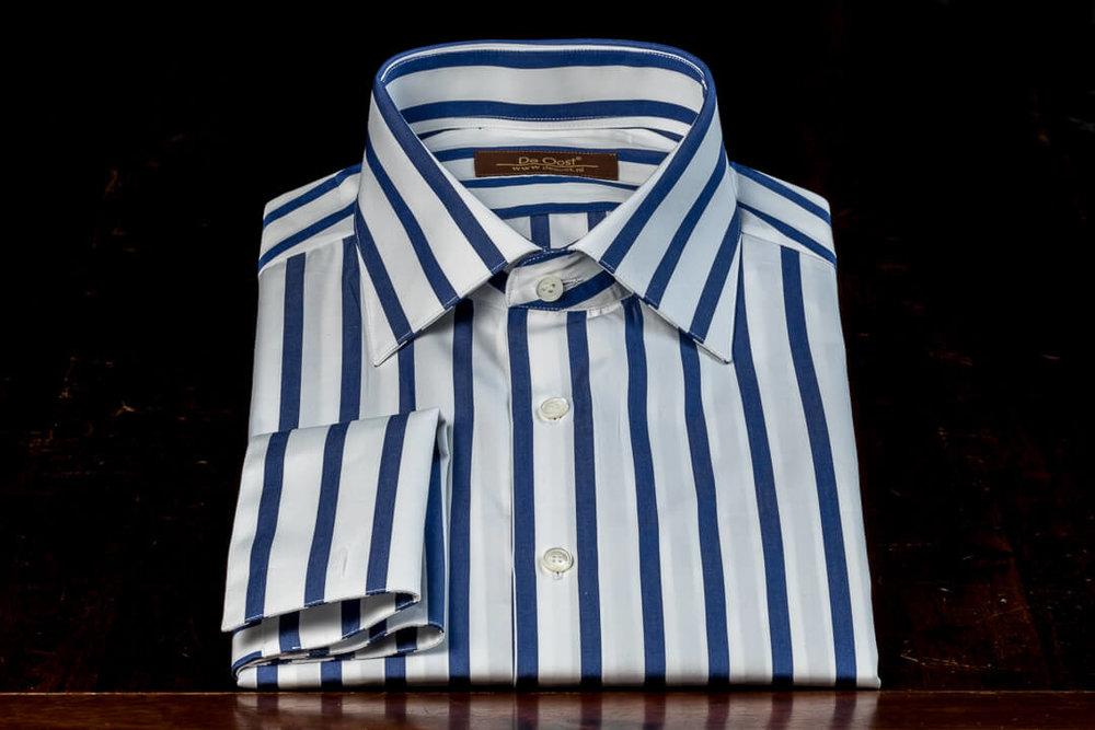 Overhemd Op Maat Heren Bespoke Poplin Wolf Of Wall Street Wit Marine Blauw Candy Stripe Dubbel Manchet