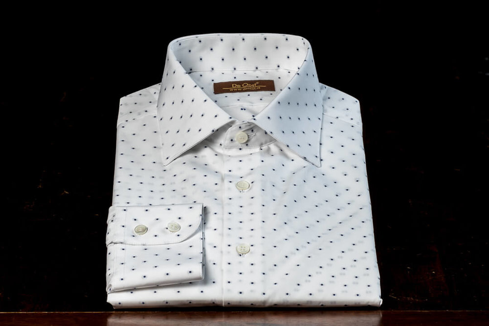 Overhemd Op Maat Heren Bespoke Thomas Mason Wit Polka Dot Seasonal Selection