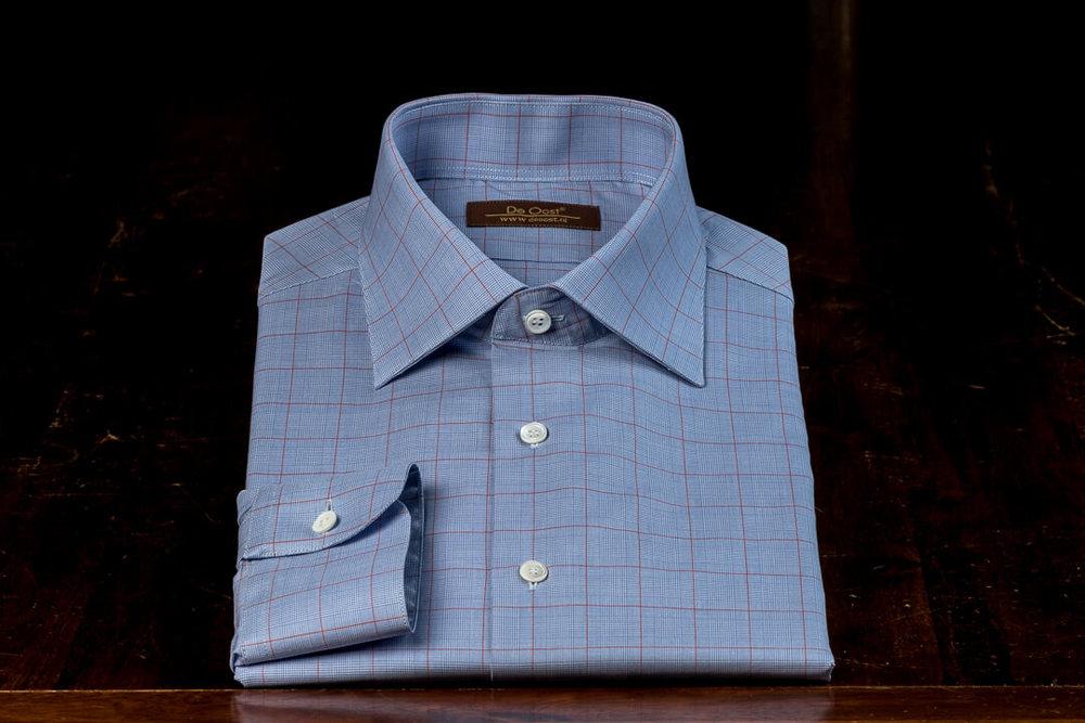 Handgemaakt Shirt Heren Bespoke David & John Anderson Blauw Rood Overcheck Sea Island Katoen