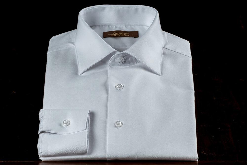 Op Maat Handgemaakt Zakelijk Werk Overhemd Wit Oxford 1 Knoops Manchet