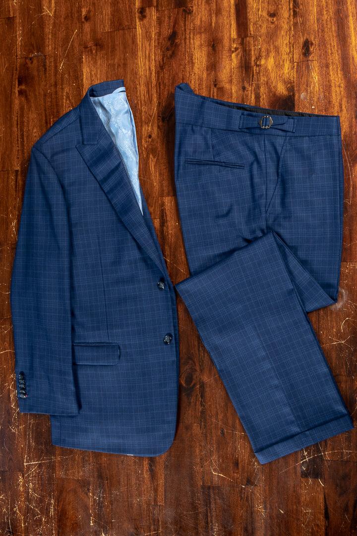 - Wol kasjmier pak fel blauw met ruit voor de geklede man in de zomer